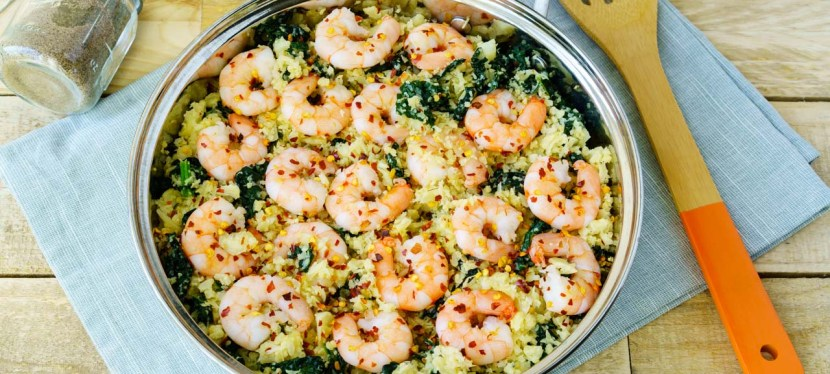 Dinner Tonight:  Spicy Garlic Shrimp with Cauliflower Rice
