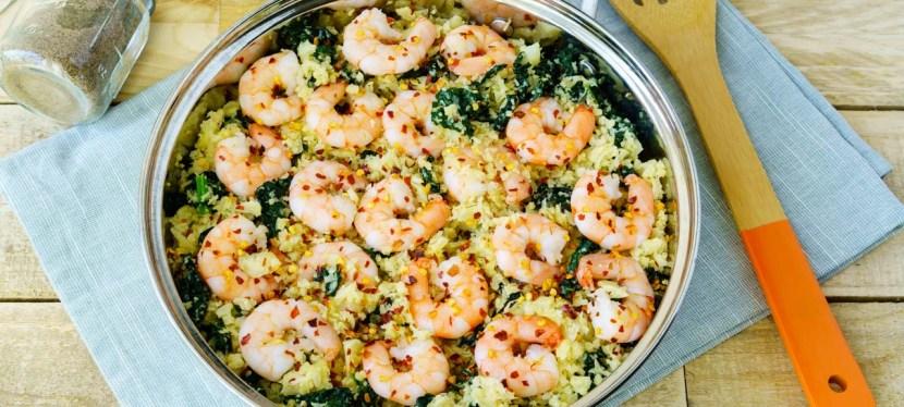 Dinner Tonight:  Spicy Garlic Shrimp with CauliflowerRice